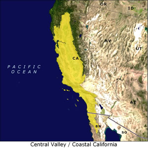 Central Valley / Coastal California map