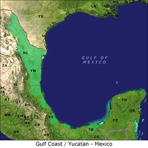 Gulf Coast/Yucatan - Mexico map