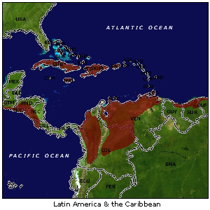 Latin America and Caribbean map
