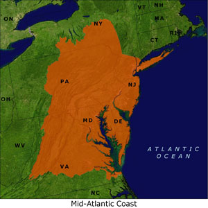 Mid-Atlantic Coast map