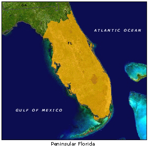 Peninsular Florida map
