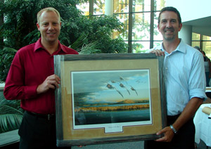 DU Regional Biologist Lindstrom presents Iowa DNR's Leopold with Living Lakes initiative print