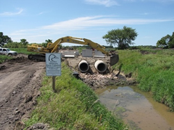 Ongoing construction of a culvert at Minnesota's Rice Lake