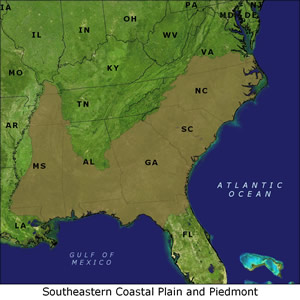 Southeastern Coastal Plain and Piedmont map