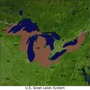U.S. Great Lakes System map