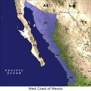 West Coast of Mexico map