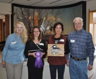from left to right: Judges  Lisa Anderson from the office of U.S. Congressman Raul R. Labrador, Colleen Moulton from the Idaho Dept. of Fish & Game, Liz Humphries DU Idaho Art Chairperson, Ted Smith Wildlife Artist.