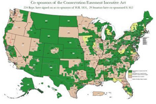 Map of congressional tax incentive supporters