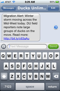 Example of a DU mobile text alert.