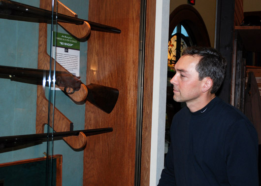 On his visit to DU national headquarters, Hautman viewed DU's display of Nash Buckingham's legendary shotgun Bo Whoop, which was donated to DU by Hal Howard Jr.